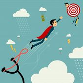 Flat style vector businessman growth. Man on catapult prepare shooting to success goal concept. New