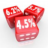 Interest rate numbers and percentages on three red dice to advertise special low rates on financing