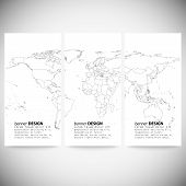 Set of vertical banners. Gray Political World Map Vector