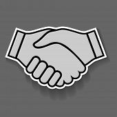 Illustration icon handshake on grey background. Business.