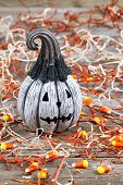 Scary Black And White Halloween Pumpkin On Rustic Wood