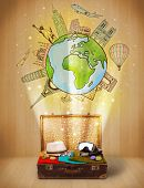 Luggage with travel around the world illustration concept on grungy background