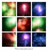 Vector abstract fireworks background set