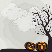 Happy Halloween poster, banner or flyer design with scary pumpkins and dead tree branch on cloudy gr
