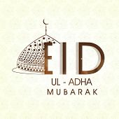 Muslim community festival Eid-Ul-Adha Mubarak celebrations greeting card design with floral decorate