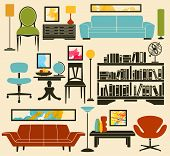 Retro Furniture and Home Accessories, including sofas, armchairs, club chair, office chair, coffee table, side tables, bookshelf, lamps and home decoration