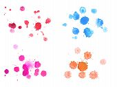 Abstract watercolor aquarelle hand drawn colorful drop splatter stain art paint on white background