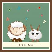 Muslim community festival of sacrifice Eid-Ul-Adha greeting card or background with sheep's on creative background.