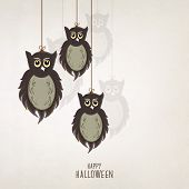 Scary owls hanging by threads on grey background, poster, banner or flyer for Halloween night party