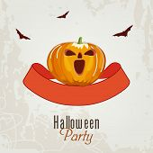 Trick or Treat party poster, banner or banner with scary pumpkin, flying bats on grungy grey backgro