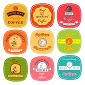Premium & best quality coffee retro tag, label, badge and sticker set in different colors.