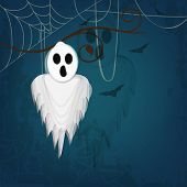 Halloween night party poster, banner or flyer design with hypothetical traditional ghost hanging by