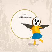 Trick or Treat party concept with little girl in skull mask and bat wings on grungy background and s