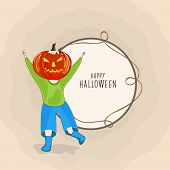 Trick or Treat party concept with little boy in angry pumpkin mask on brown background and space for