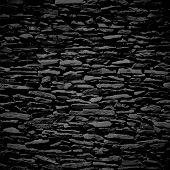 Stone wall, black relief texture with shadow
