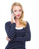 Caucasian woman talk to mobile