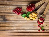 Organic Berry over Wood. Strawberries, Raspberries, Red currant . Agriculture, Gardening, Harvest Co
