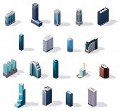 Vector isometric city center buildings set