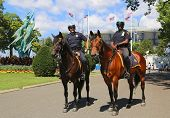 NYPD police officers on horseback ready to protect public at National Tennis Center