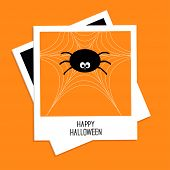 Instant photo with spider on the web. Happy Halloween card. Flat design style.