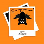 Instant Photo With Bat. Happy Halloween Card. Flat Design
