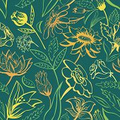 Green floral pattern with bright colors