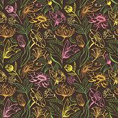 Vintage brown floral pattern