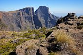 View of the high peaks of the Drakensberg mountains, Royal Natal National Park, South Africa
