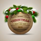 Vector realistic illustration of wooden christmas message board. Elements are layered separately in