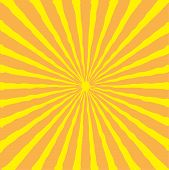 Sunburst With Ray Of Light. Yellow And Orange Background.