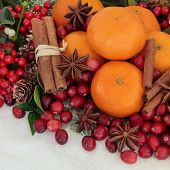 Cranberry and mandarin orange christmas fruit with cinnammon and star anise spice, holly, mistletoe,