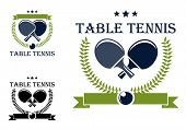 image of ping pong  - Table tennis or ping pong symbols with rackets - JPG