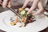 Chef is precisely decorating a dish with pincers, toned image