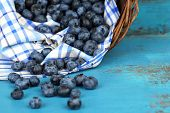 Tasty ripe blueberries in basket, on wooden table