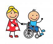 Cartoon man on a wheelchair