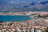 Fethiye city and sea view from hills