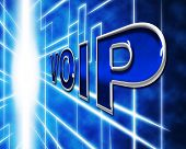 stock photo of voip  - Telephony Voip Representing Voice Over Broadband And Communication - JPG