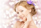 Beauty Face  Young Beautiful Healthy Girl With Purple And Lilac Flowers