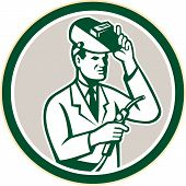 Scientist Lab Researcher Welder Circle Retro