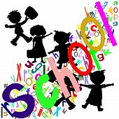 Silhouettes Of Children Students With Portfolios, Color English Letters And The Word School