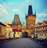 view on the Prague ,Charles bridge ,Lesser Bridge Tower. instagram effect