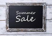 Summer sale written on chalkboard, close-up