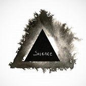 Illustration of black ink painted triangle with blur and text.