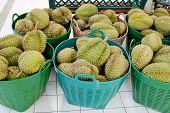 Durian In Basket At Thailand's Market