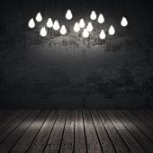 Black Interior With Light Bulbs