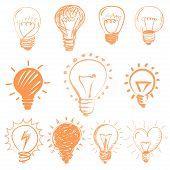 Set of cartoon light bulbs. Symbol ideas
