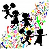 Silhouettes Of Children And Students With Portfolios Colored English Letters On A White Background