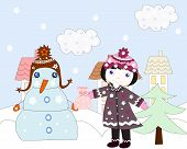 Little Girl Holds Out A Gift Snowman, Winter In The City