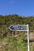 Cliff Walk Sign Beside The Cliffs