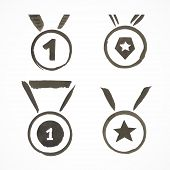 Set of ink painted medals. Sport theme.